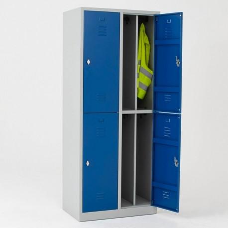 Vestiaire bi place salissant 4 casiers monobloc - H.195 cm - L40 cm