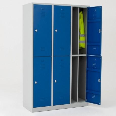 Vestiaire bi place salissant 6 casiers monobloc - H.195 cm - L40 cm