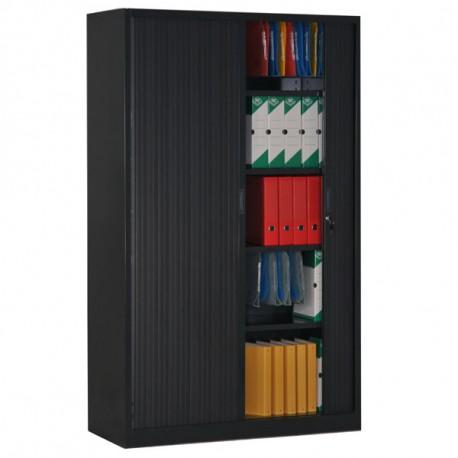 Armoire rideaux noir H195 x L120 x P46 cm