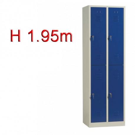 Vestiaire biplace 4 casiers monobloc - H1.95m - L30cm
