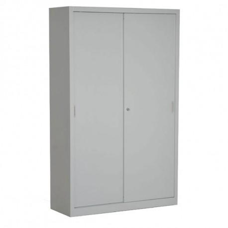 Armoire portes coulissantes grises H195 x L120 x P45 cm