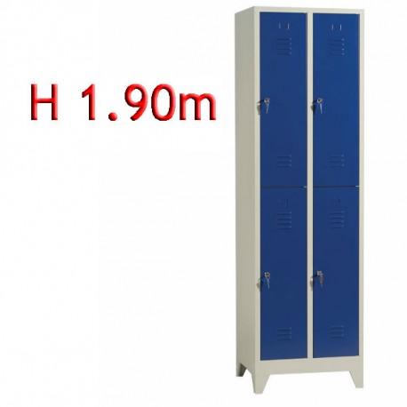 Vestiaire bi places 4 cases sur pieds monobloc - H190 - L30cm