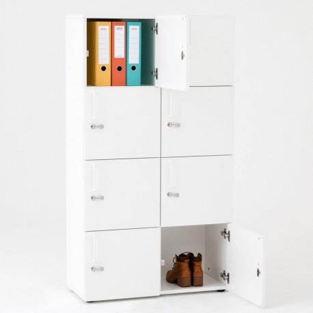 Vestiaire bureaux en bois 8 cases
