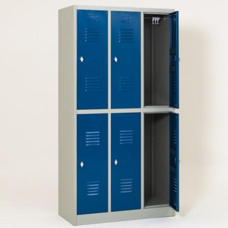 Vestiaire biplaces semi monobloc 6 casiers