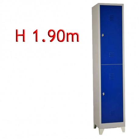 Vestiaire bi place 2 cases monobloc sur pieds - H.190 - L40 cm