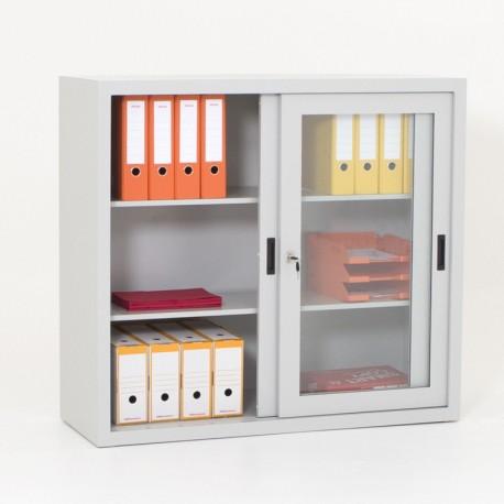 Armoire portes vitrées, 1 porte ouverte, H109 x L120 x P45 cm
