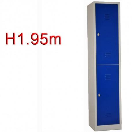 Vestiaire bi place 2 casiers monobloc - H1.95m - L40 cm