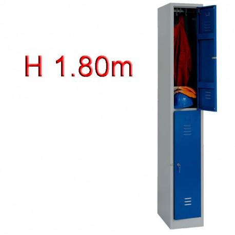 Vestiaire biplaces 2 casiers monobloc - H1.80m - L30cm