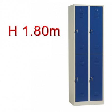 Vestiaire biplace 4 casiers monobloc H1.80m - Largeur 30cm