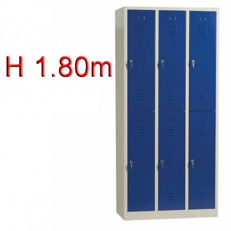 Vestiaire biplace 6 casiers monobloc - H1.80m - L30cm