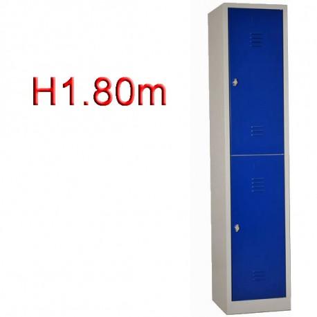 Vestiaire bi place 2 casiers monobloc - H1.80m - L40cm