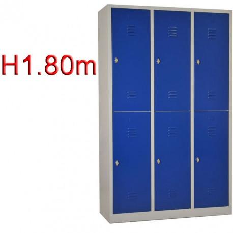 Vestiaire biplace 6 casiers Monobloc -H1.80m - L40cm