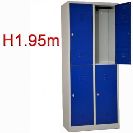 Vestiaire bi place 4 casiers monobloc - H1.95m - L40 cm
