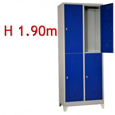 Vestiaire bi place 4 cases monobloc sur pieds - H.190 - L40cm