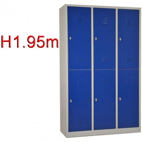 Vestiaire bi place 6 casiers monobloc - H1.95m - L40 cm