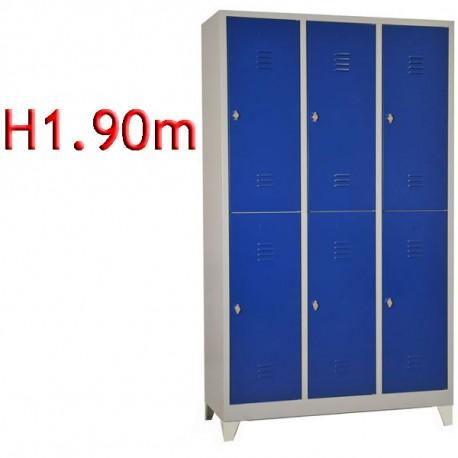Vestiaire biplace 6 cases sur pieds monobloc - H1.90 - L40 cm