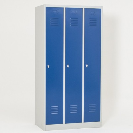 Vestiaire semi monobloc 3 cases propre, portes fermées