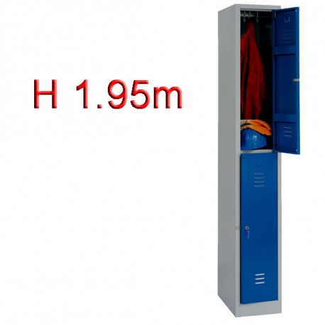 Vestiaire biplace 2 casiers monobloc - H1.95m - L30cm