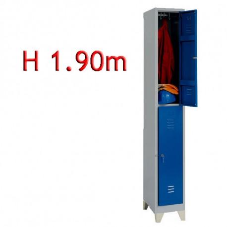 Vestiaire bi places 2 cases sur pieds monobloc - H1.90m - L30cm
