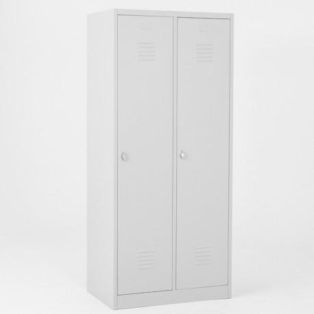 Vestiaire industrie salissante éco 2 cases portes grises
