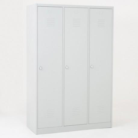 Vestiaire industrie salissante éco 3 cases portes grises