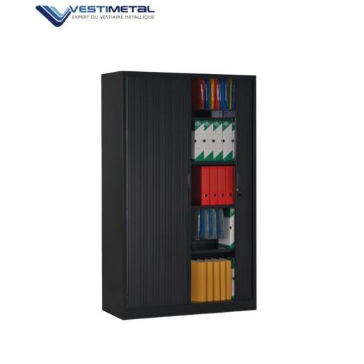 armoire rideaux noire hauteur 1m95 vestiaire vestimetal. Black Bedroom Furniture Sets. Home Design Ideas